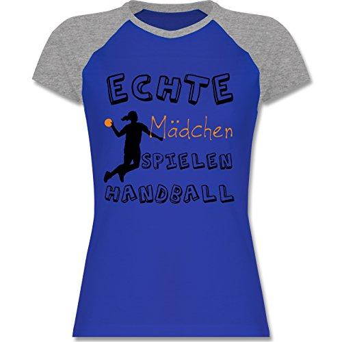Shirtracer Handball - Echte Mädchen Spielen Handball Verspielt -  Zweifarbiges Baseballshirt/Raglan T-Shirt