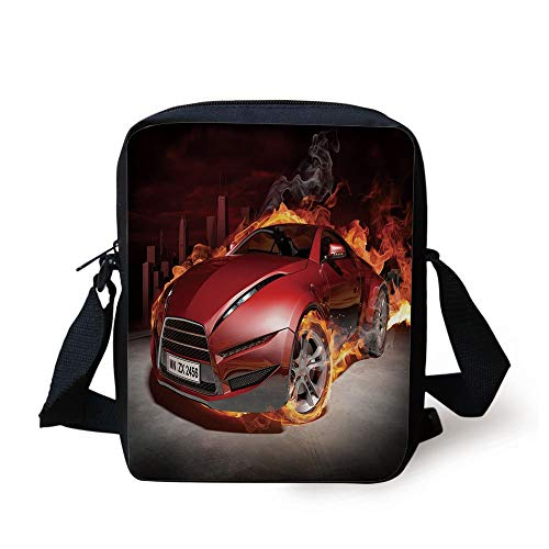 LULABE Cars,Red Sports Car Burnout Tires in Flames Blazing Engine Hot Fire Smoke Automobile Decorative,Red Black Orange Print Kids Crossbody Messenger Bag Purse