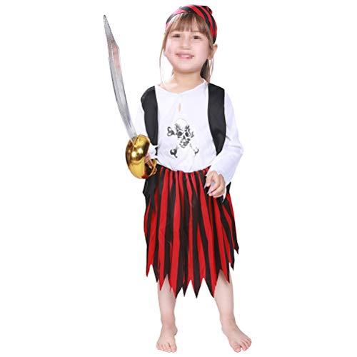 STOBOK Pirate High Seas Buccaneer Kostüm Halloween Party Dekoration Spielzeug Kinder Pretend Play Pirate Suit Kleidung Kostüm für Baby Kleinkind Mädchen (Größe L) (Buccaneer Kleinkind Kostüm)