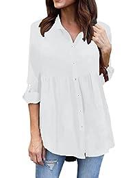 Modaworld Camisas con Botones Mujer Tallas Grandes de chifón Casual de Manga Larga para