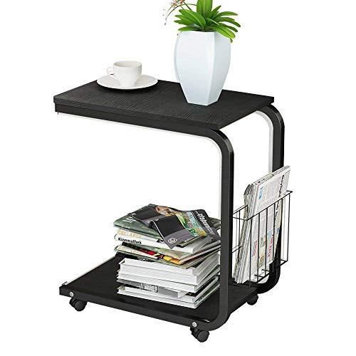 O&YQ Sofa-Beistelltisch/Kaffee/Snack/Aufbewahrungstisch mit Rädern für Zuhause, Wohnzimmer, Büro Weiß Ahorn -