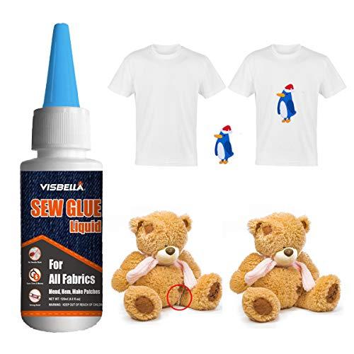 Visbella Sew Glue Liquid Fabric Klebstoff, kein Nähen, einfach zu klebendes Denim Sealer Carpet Tape und wasserdichte Gardinen (60ml)