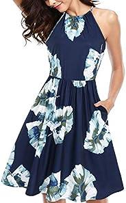 KILIG Women's Halter Neck Floral Summer Dress Casual Sundress with Poc