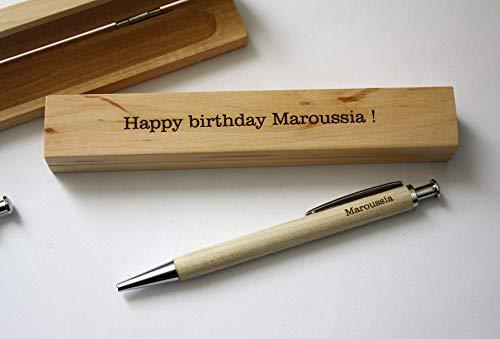 Personalisiert Kugelschreiber und Personalisiert box, hölzern Stift, Gravur mit Namen, mit Ihrem Text, individuell graviert