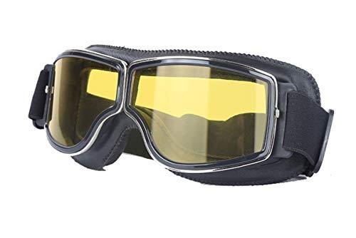 Bishilin Motorradbrille Vintage Sportbrille Herren Sicherheitsbrille Brillenträger Schwarz Gelb Schutzbrille