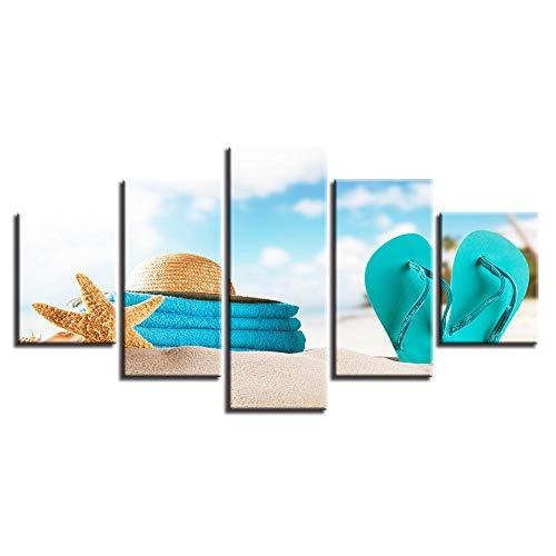 zupjl Stampa HD Dipinti Artistici Decorazioni da Parete per Pareti 5 Pezzi Infradito Cappello da Stella di Mare Spiaggia Paesaggio Immagini su Tela Poster Modulare