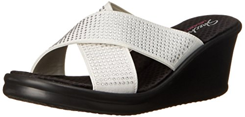 Skechers - Rumblersmetal Mama, Pantofole Donna Bianco (Bianco (Wht))