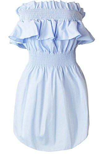 Peplum Tube Top (Be Jealous Frauen aus der Schulter Damen Schälen Gerafft Elastische Peplum Krause Mini Kleid)
