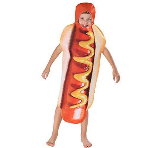 GUAN Halloween Kleid 3D Farbdruck Kinder Hot Dog Set Overall Lebensmittel Bühne Cosplay Kostüm (Kinder Lebensmittel Kostüm)
