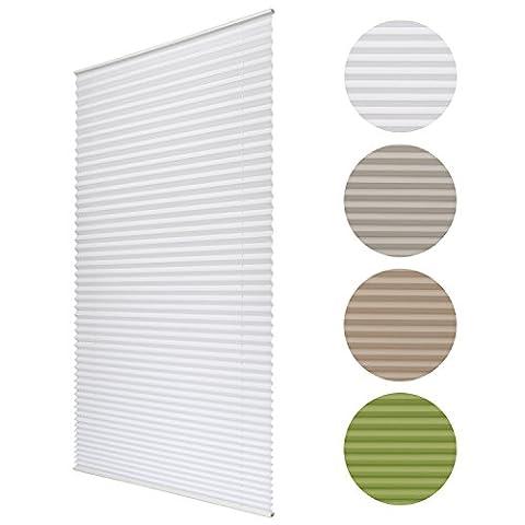 Sol Royal® Plissee SolDecor P25 -90 x 130 cm Weiß - Klemm-Fix ohne Bohren - Plissee-Rollo Jalousie für Fenster &