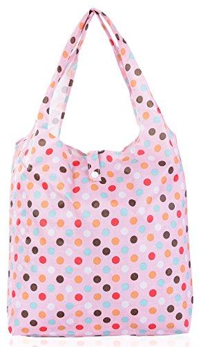 Big Handbag Shop pieghevole riutilizzabile Eco pianeta Friendly Compatto Shopping Bags, multicolore (Polka Dot - Baby Pink), Taglia unica