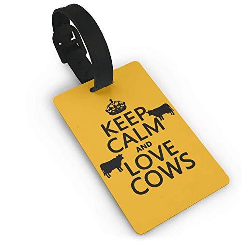 Gepäckanhänger, Aufschrift Keep Calm and Love Cows, aus Kunststoff, für Reisen, Koffer, Reisegepäck (Kleine Leere Adressetiketten)