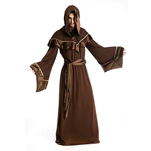 Zauberer Kostüm Mystische - Dreamworldeu Mönch Robe Umhang mit Kapuze Braun Kostüm für Halloween Karneval Party Cosplay Größe XXL