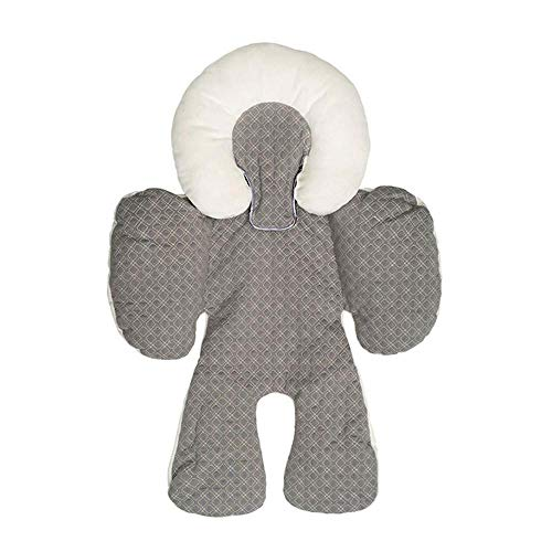 AOLVO Baby Body Support Infant Kopfpolster Liner Pad für Kinderwagen Buggy Autositz 2 in 1 Weiche Körperschutzkissen Liner Matte Pad Bezug für warmes und Kaltes Wetter grau (Autositz Für Jogging-kinderwagen)