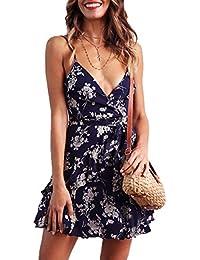 ea860a34af33 Ajpguot Donna Sexy Scollo V Vestiti a Tracolla Sottile Estivo Bohemian  Stampa Fiore Abiti da Spiaggia Elegante Mini…