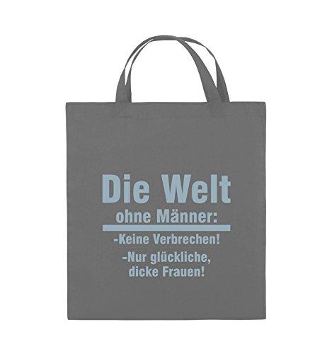 Comedy Bags - Die Welt ohne Männer - keine Verbrechen nur dicke Frauen - Jutebeutel - kurze Henkel - 38x42cm - Farbe: Schwarz / Pink Dunkelgrau / Eisblau