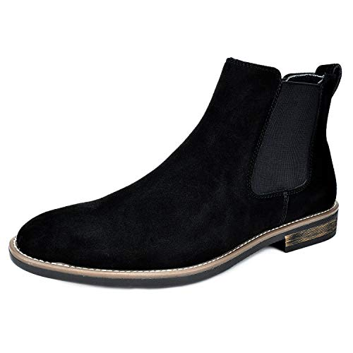 AERZ Herren Chelsea Boots Wildleder Stiefeletten Stiefel Moderne Stiefelette mit Gummisohle Retro Business Stiefelette Klassische Brogues (41 EU, Schwarz)