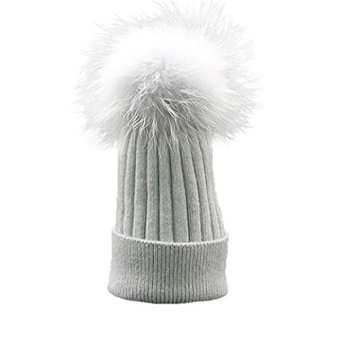 Womens Beanie,Clode® Fashion Women Girls Winter Beanie Hat Knitted with Large Pom Pom Cap SKI Snowboard Hats (Gray)