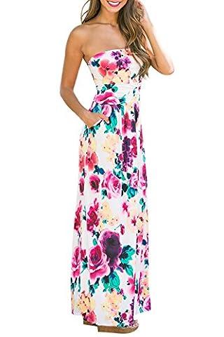 YMING Damen Sommer Kleid Casual Trägerlos Maxikleid Blumenkleid Maxi Langes