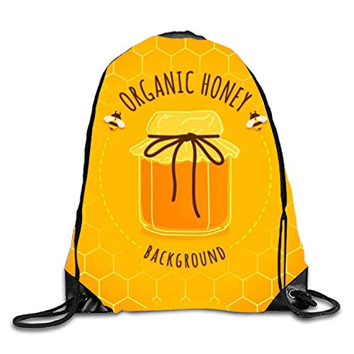 ZHIZIQIU Drawstring Bag Cute Honey Jar Backgro Sack Pack Cinch Tote Kids Adults Storage Bag for Gym Traveling (Multicolored)