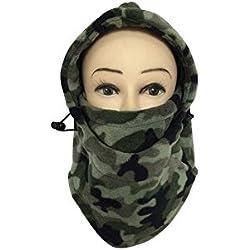 Camuflaje Multifuncional Thinkened cubierta doble forro polar sombrero máscara tocados sombrero bufanda Gorra de terciopelo cara caliente Caperucita para hombres y mujeres
