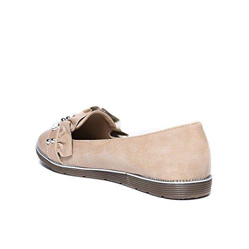 Ideal Shoes Slippers en Similicuir avec Strass et Froufrous Gwendoline Beige