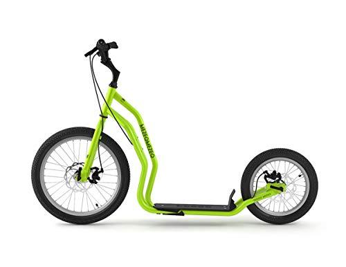 Yedoo Mezeq Tretroller - bis 150 kg, mit Luftreifen 20/16 - Roller Scooter für Erwachsene, Offroad Tretroller mit Ständer und verstellbaren Lenker, Dogscooter mit Scheibenbremse, grün