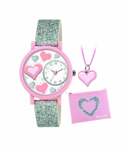 Tikkers Children's Quartz Watch with White Dial Analogue Display and Silver PU Strap ATK1014