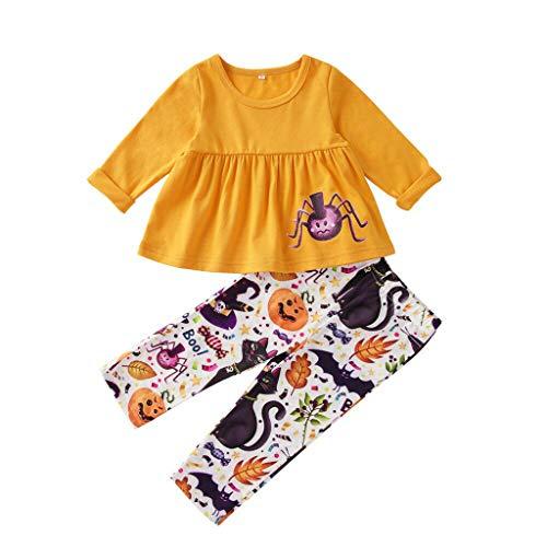 Lomelomme Halloween Sweatshirt Set Mädchen Cosplay Kostüm Geist Langarm Tops und Hosen Streifen Rundhals Oberteile Schlaghose T Shirts