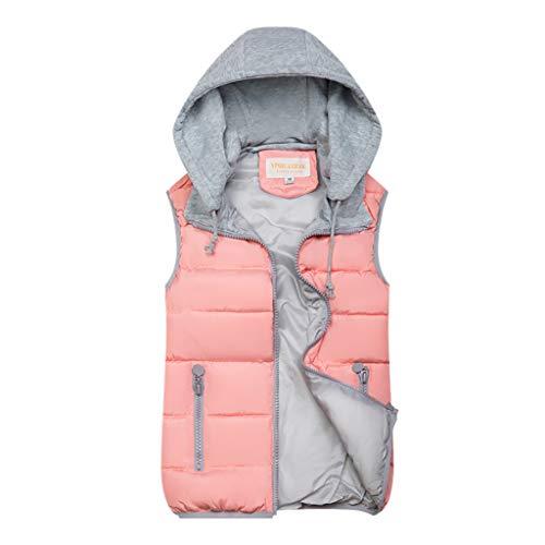Zegeey Damen Westen Weste Hoodie Jacke Herbst Winter Warme Bequem Outwear Einfarbig Kapuzenpullover Kapuzenpullover、(Rosa,42 DE/XL CN)
