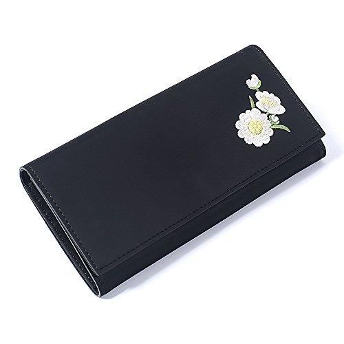 Woolala Donna Ricamato Pu In Pelle Lungo Portafoglio Elegante Trifold Grande Capacità Borsa Frizione, Nero Black