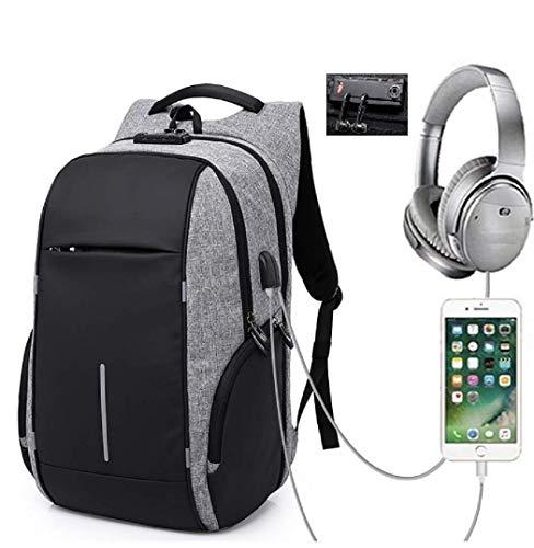 GERMAN BOX Anti-Diebstahl Rucksack für Laptops bis 17.3 Zoll, schnittbeständiges wasserabweisendes Oxford Material, mit Zahlenschloss, aussenliegendem USB und Kopfhörer Anschluß (grau)