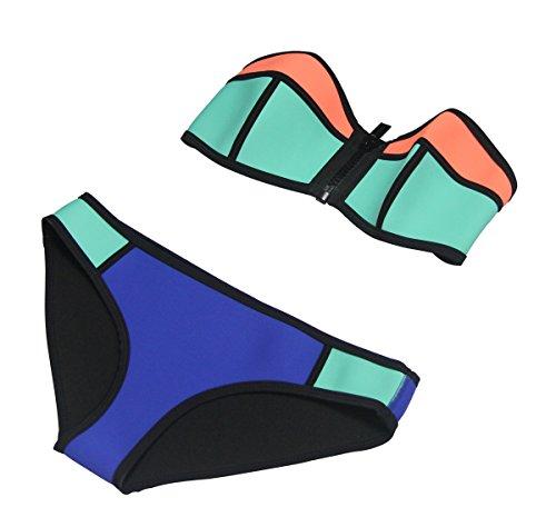 MUXILOVE Damen bunt Neopren Bikini-Set mit Reißverschluss vorne Bandeau Bademode Neoprene Blau Large