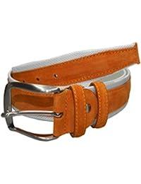 a6427f831087 INTARSI Cintura uomo tela camoscio Bianco-Arancio vera pelle 667