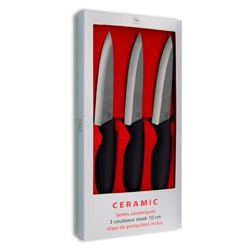 Le Couteau du Chef, Tarrerias Bonjean 442885 Set de 3 Couteaux Steak avec Protection de Lame Céramique Noir 9 cm