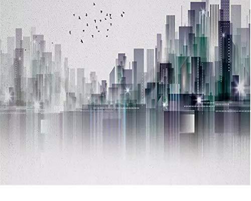 dsfytrew Fototapete Aufkleber für foto personalisierte tapete 3d moderne stadt nordic silhouette landschaft wand tapete wohnzimmer 3d wallpaper-350X250CM