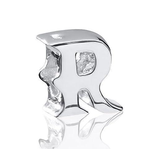 Materia Beads lettres de l'alphabet en argent 925brillant–Charm lettre R–pour chaînes/Bracelet Charm #