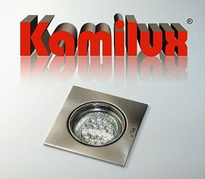 3 x LED Einbauleuchte Einbauspot Einbaustrahler Quadrato 230V edelstahl.gebürstet mit 20er LED - WARMWEISS