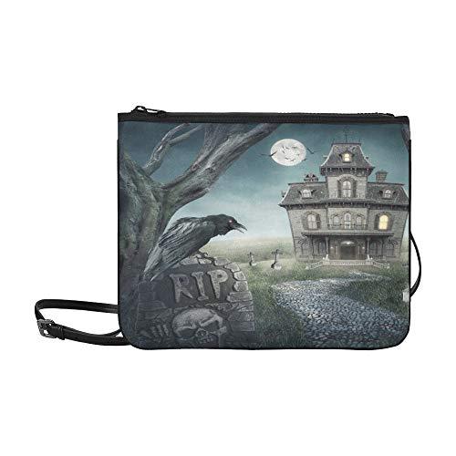 WYYWCY Haunted House Spooky Friedhof Benutzerdefinierte hochwertige Nylon Slim Clutch Crossbody Tasche ()