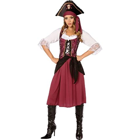 BUYSEASONS-Costume da adulto, la ragazza pirata, colore: rosso