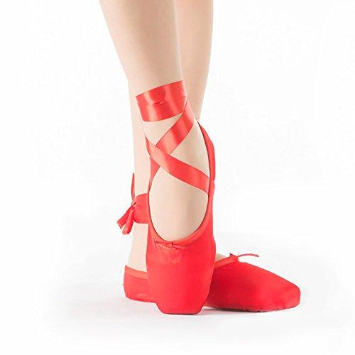 Bezioner Scarpette da punta appartamenti Tela Scarpe Ballerine con nastri per donne e ragazze (Rosso, EU36)