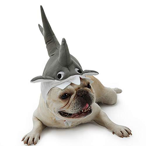 Kostüm Hunde Klein Hai - ZZXHallow Pet Hat Perücke Kostüm - Triceratops-Dinosaurier-Entwurf Hai-Design Haustier-Partyhut Cosplay Kostümzubehör Für Katze Und Kleine Hund,Shark,S