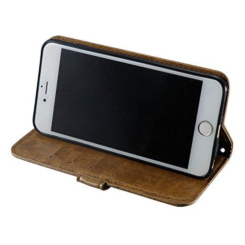 Custodia iPhone 6 Plus,Custodia iPhone 6S Plus, Cover iPhone 6 Plus/6S Plus, ikasus® iPhone 6 Plus/iPhone 6S Plus Custodia Cover [PU Leather] [Shock-Absorption] Goffratura Testa del cranio Modello Emb Caffè