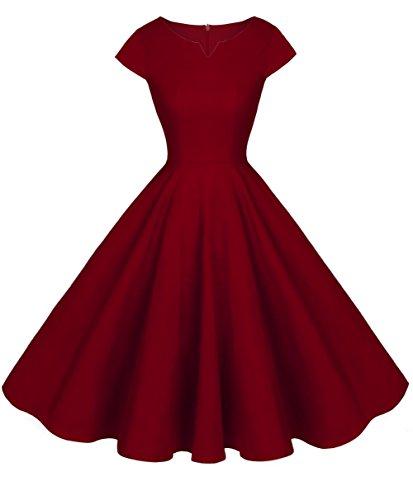 FAIRY COUPLE 1950S Retro Rockabilly Tupfen Kappen Hülsen Abschlussball Kleid DRT019(2XL,Burgund)