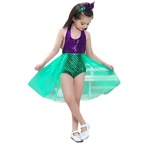 Prinzessin Kleid mit Haarband 2-teilig - Kostüm für Kinder perfektes für Karneval & Cosplay (100cm-110cm, Grün)