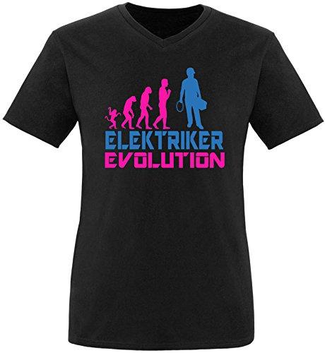EZYshirt® Elektriker Evolution Herren V-Neck T-Shirt Schwarz/Pink/Blau
