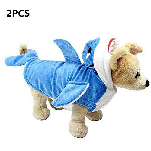 Pet Hai Kostüm - FZXPET Haustier Halloween Weihnachten Cosplay Kleid, Lustige Hund Katze Hai Kostüme, Entzückende Blue Shark Pet Kostüm, Tier Hoodie Warme Outfits Kleidung,B,L