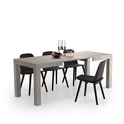 Mobili fiver, tavolo allungabile first, grigio cemento, 120 x 80 x 76 cm, nobilitato, made in italy, disponibile in vari colori