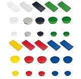 30x farbige Haftmagnete, 3 Größe rund 24mm, rund 32mm und rechteckig 23 x 50mm, Haftmagnete für Whiteboard, Magnettafel, Kühlschrank