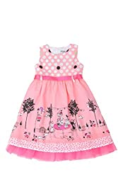 Nova - Girls Summer Dress with Underskirt - Polka-Dots and Tea Party Print - Pink